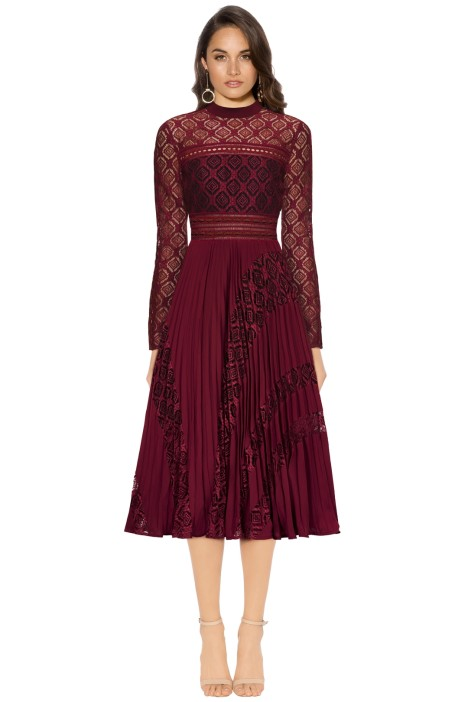 Self Portrait - Symm Midi Dress - Burgundy - Front