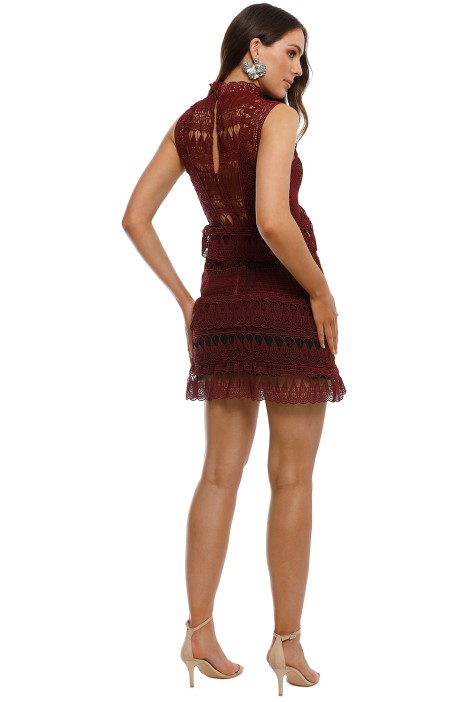 232804337c0f Self Portrait - Teardrop Guipure Panelled Mini Dress - Burgundy - Back