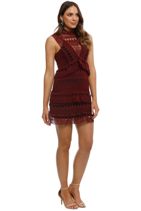 b607540adc498 Self Portrait - Teardrop Guipure Panelled Mini Dress - Burgundy - Side