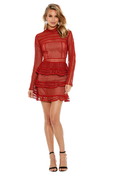 Self Portrait - Tiered Guipure Lace Mini Dress - Crimson Red - Front
