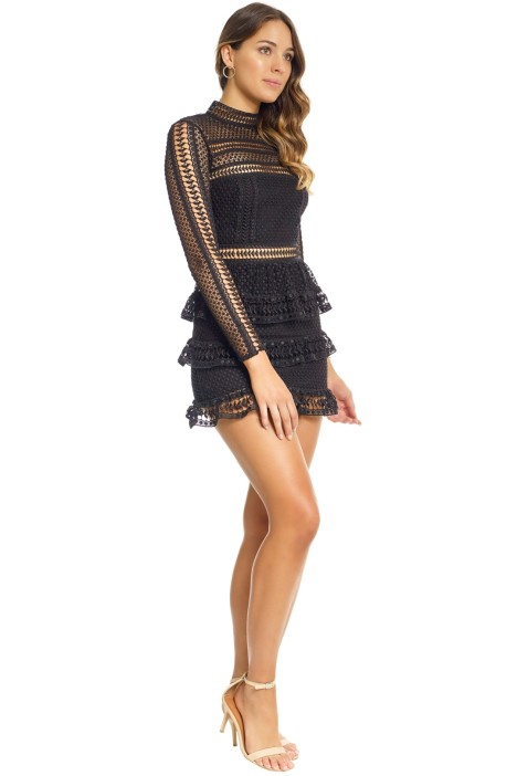 9dae5107f00a8 Tiered Guipere Lace Mini Dress in Black by Self Portrait for Hire