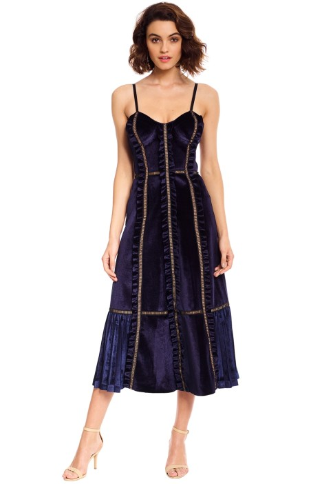 Self Portrait - Velvet Panelled Midi Dress - Midnight Blue - Front