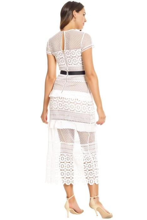 White Oblique Lace Column Dress