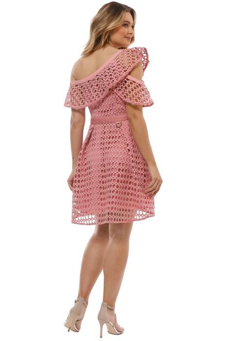 b59357b7a26ec Guipure Frill Mini Dress in Pink by Self Portrait for Rent