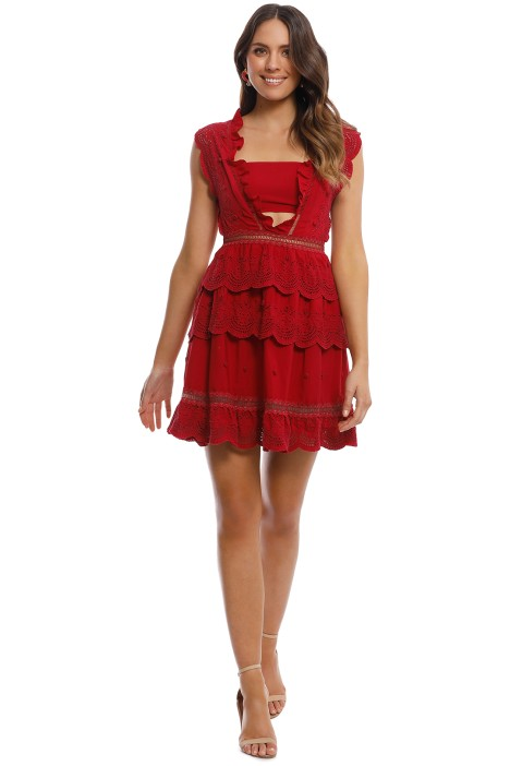 88161868dfa63 Tiered Broderie-Anglaise Mini Dress by Self Portrait for Hire