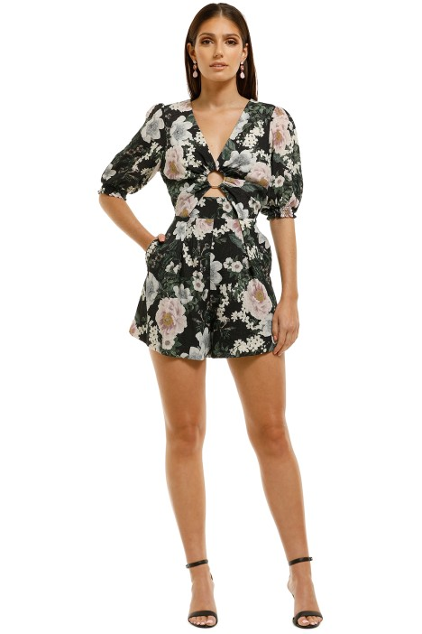 Sheike - Ava Floral Playsuit - Green Floral - Front