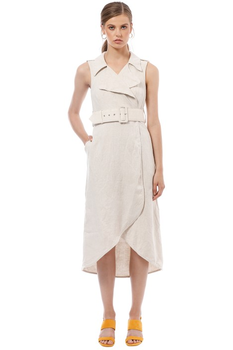 Shona Joy - Atticus Linen Sleeveless Trench Midi Dress - Cream - Front