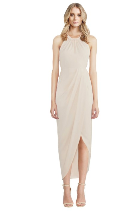 Shona Joy - Cream Core High Neck Ruched - Front