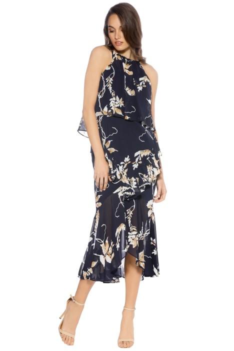Shona Joy - Curacao Cross Frill Midi Dress - Navy - Front