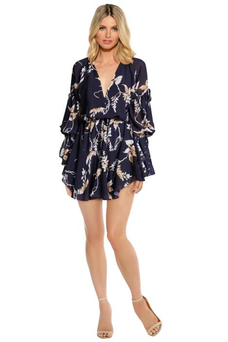 Shona Joy - Curacao Tie Sleeve Mini Dress - Navy Floral - Front