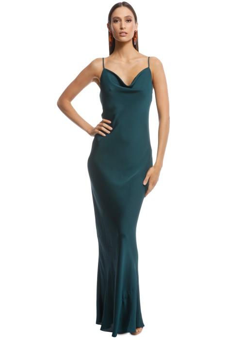 Shona Joy - Luxe Bias Cowl Slip Dress - Emerald - Front
