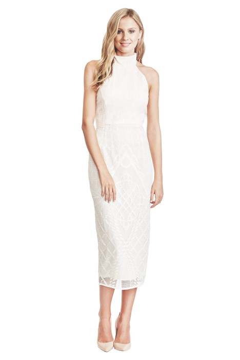 Shona Joy - Maddalena High Neck Midi Dress - Front - Ivory