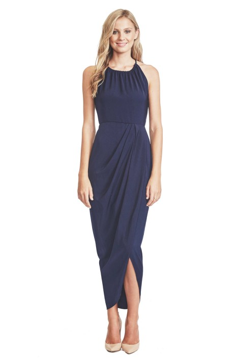 Shona Joy - Navy Core High Neck Ruched - Front