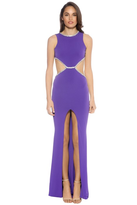 SKIVA - Open Back Evening Dress - Purple - Front