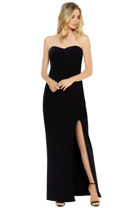 Skiva - Strapless Split Evening Dress - Black - Front