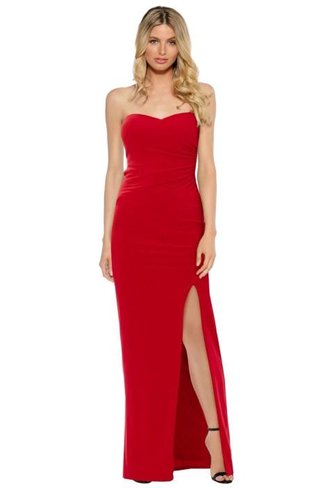 SKIVA - Strapless Split Evening Dress - Red - Front