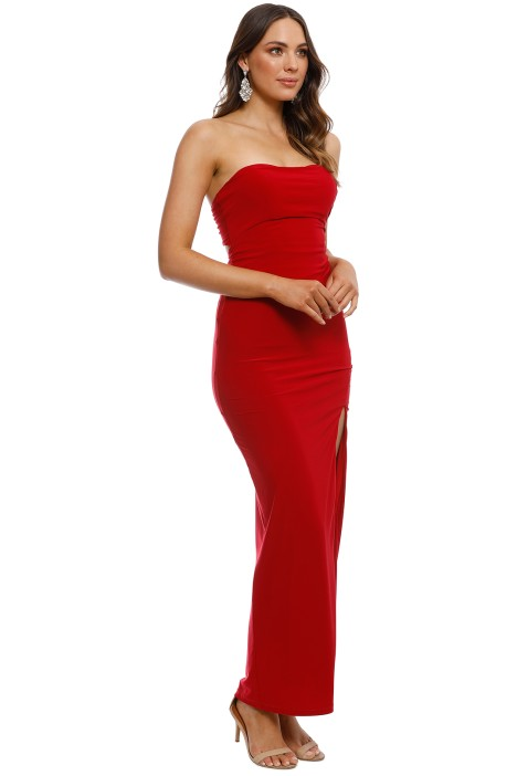 f4de78db40e Strapless Split Evening Dress in Red by SKIVA for Rent