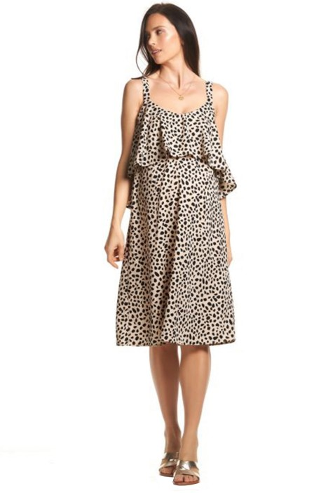 Soon-Maternity-Bettina-Feeding-Dress-Beige-Leopard-Lurex-Front