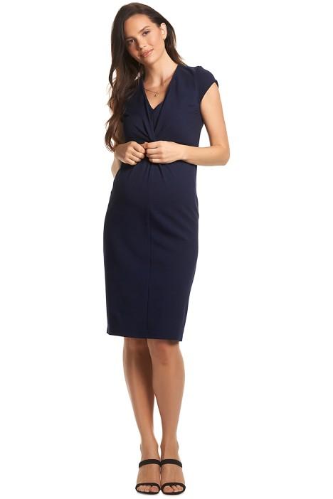 Soon-Maternity-Charlotte-Twist-Dress-Navy-Front