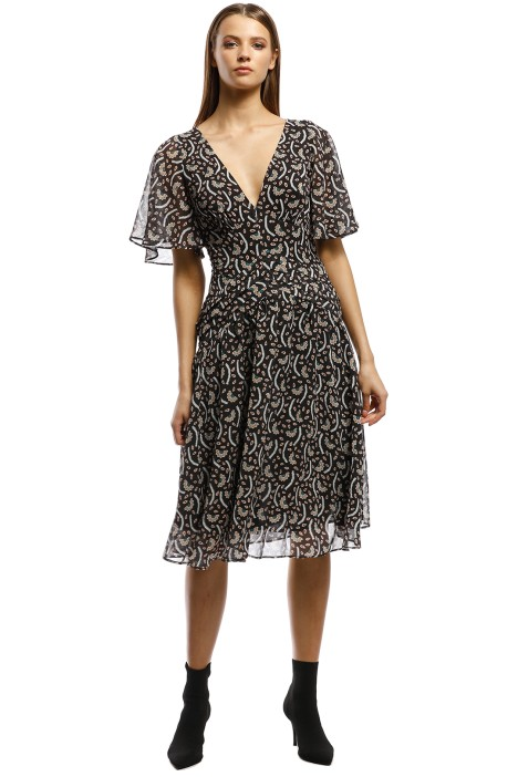 Stevie May - Anise Midi Dress - Black Print - Front
