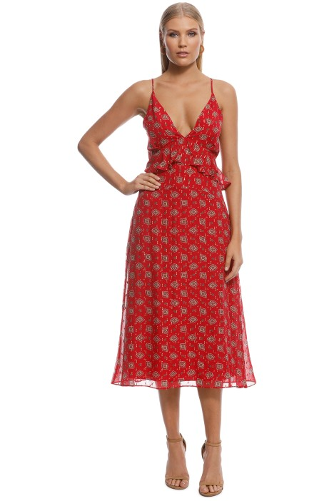 Stevie May - Here We Go Midi Dress - Red - Front