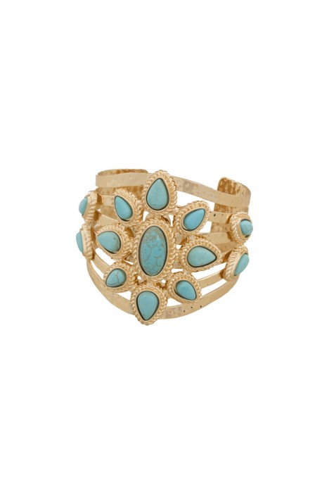 Adorne - Stone Teardrop Flower Cut-Out Metal Cuff - Front