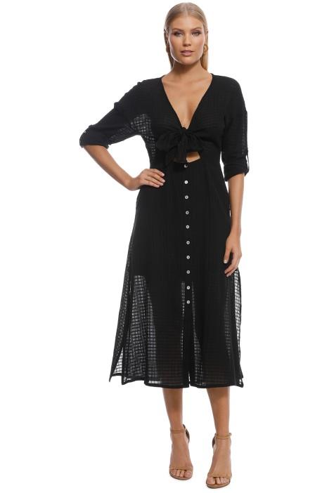 Suboo - Eclipse Tie Front Midi Dress - Black - Front