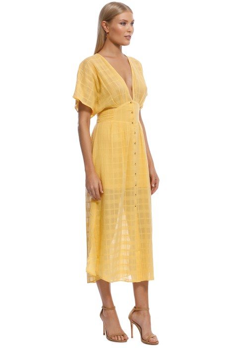 b44c82fed520 Morning Light Ruffled Midi Dress in Yellow by Suboo for Rent ...
