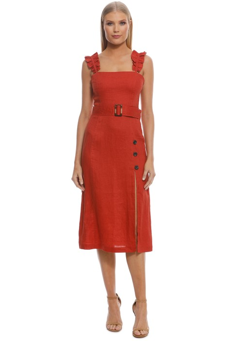 Suboo - Rising Sun Belted Midi Dress - Rust - Front