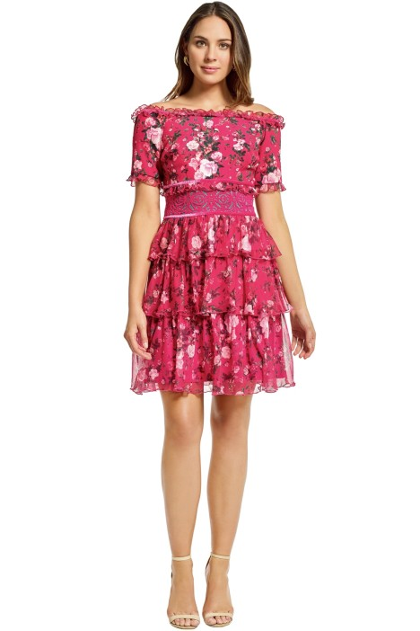 Tadashi Shoji - Bonet Off The Shoulder Dress - Magenta Pink - Front