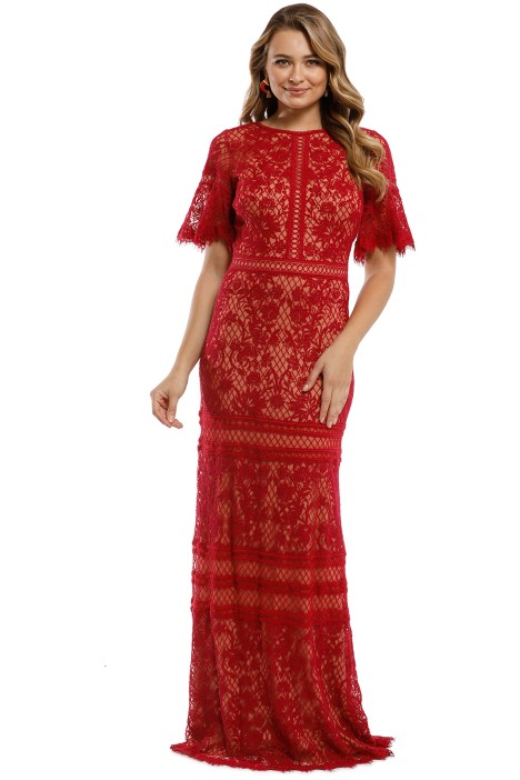 Tadashi Shoji - Chakra Embroidered Gown - Jazzy Red - Front