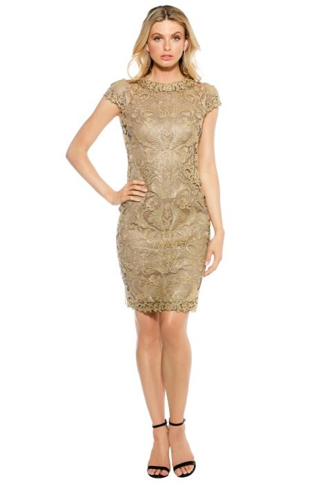 gold corded lace dresstadashi shoji for hire  glamcorner