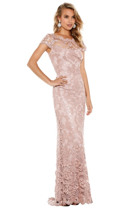 6b678e9823f Lace Cap Sleeve Gown in Petal Bloom by Tadashi Shoji for Hire