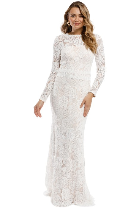 d4067aee3fe627 LS Lace Gown in Ivory by Tadashi Shoji for Hire | GlamCorner
