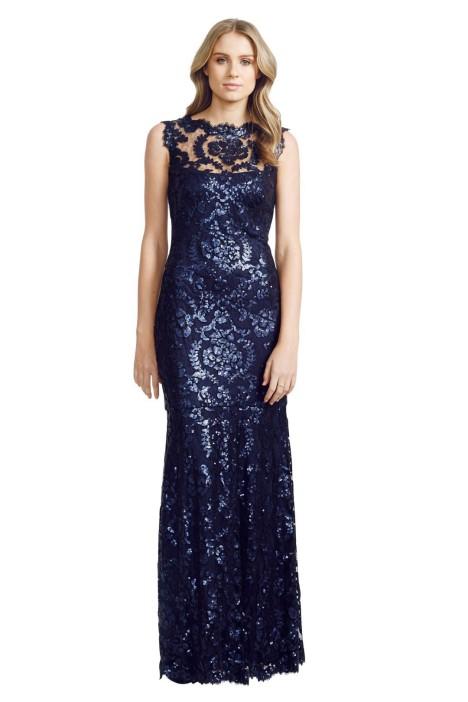 Tadashi Shoji - Paillette Lace Gown - Front - Blue