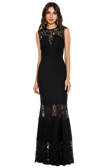 Tadashi Shoji - Pintuck Neoprene and Lace Illusion Gown - Navy - Front