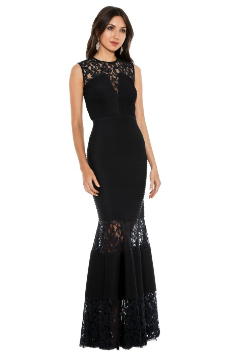 Pintuck Neoprene Lace Illusion Gown by Tadashi Shoji for Rent