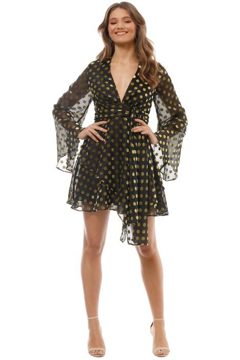 Talulah - Budding LS Mini Dress - Black Gold - Front