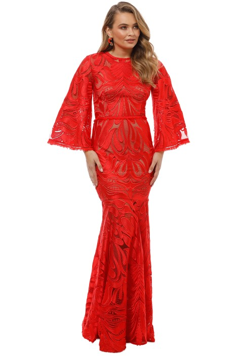 Talulah - Carnation Flared Sleeve Gown - Red - Front