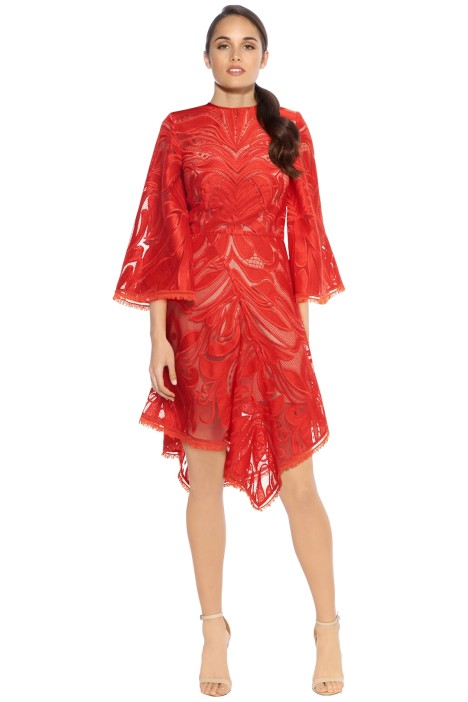 Talulah - Carnation Flared Sleeve Mini Dress - Red - Front