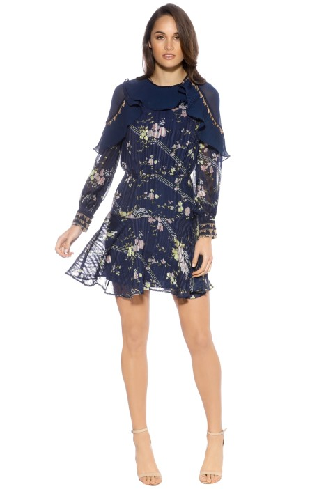 Coco L/S Mini Dress - Blue/Print - Front