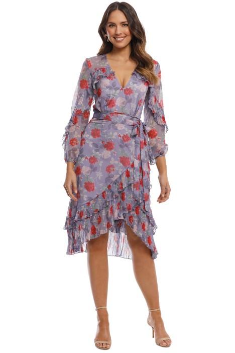 Talulah - Femme Flounce Wrap Midi Dress - Lilac Rose - Front