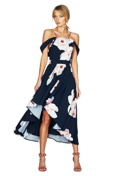 Talulah - Floral Affair Full Midi Dress - Navy Floral - Front