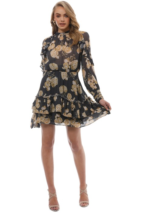 Talulah - In The Mix Mini Dress - Yellow Floral - Front