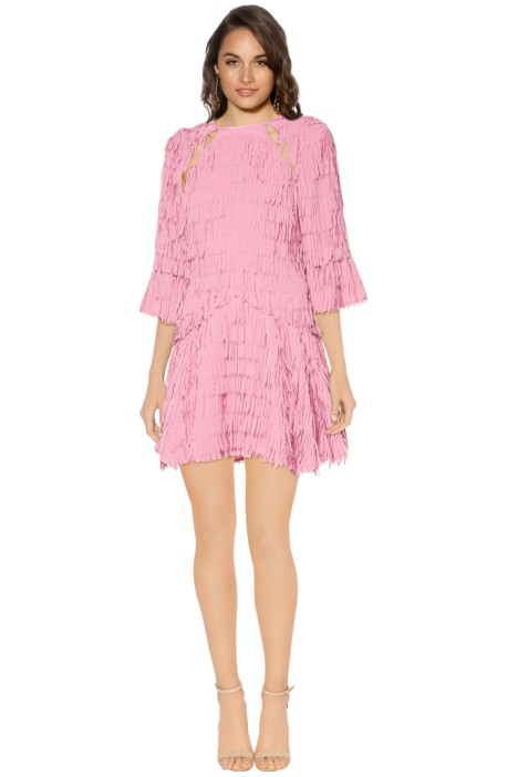 Talulah - Leilani Fringe Mini Dress - Front - Pink
