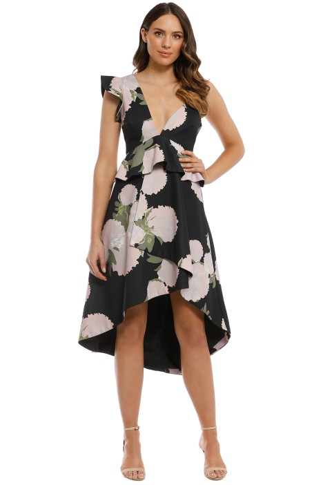 Talulah - New Woman Asymmetrical Midi Dress - Black Floral - Front