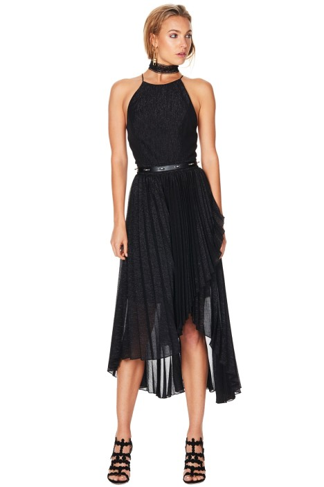 Talulah - Pleated Wonder Dress - Black - Front