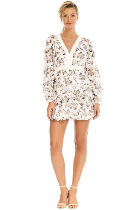 Talulah - Reminisce LS Mini Dress - White Print - Front