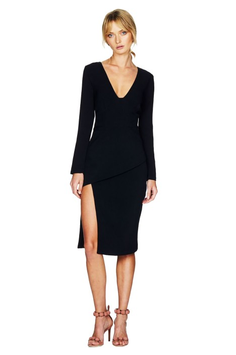 Talulah - Stride My Way Long Sleeve Midi Dress - Black - Front