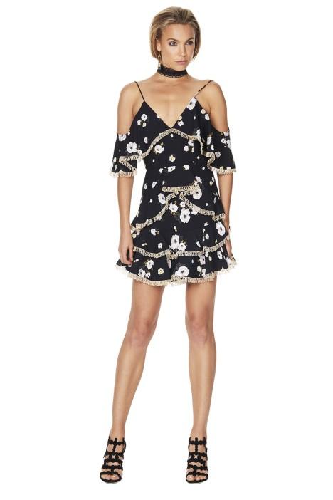 Talulah - Vintage Floral Mini Dress - Black Floral - Front